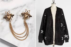 Two panels, from left to right, showing a bee collar pin set and a fuzzy cardigan with metallic stars