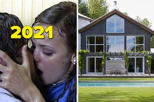 "A couple is on the left kissing labeled, ""2021"" with a house and a pool on the right"