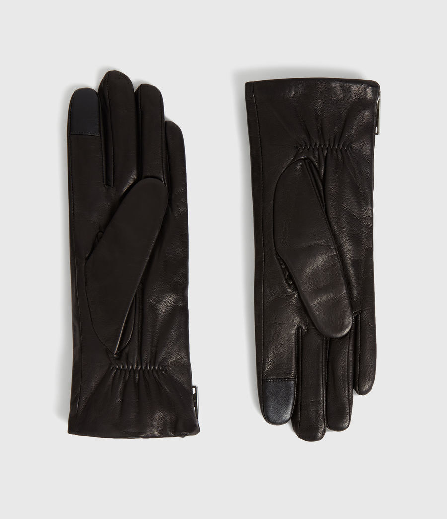 The black leather gloves