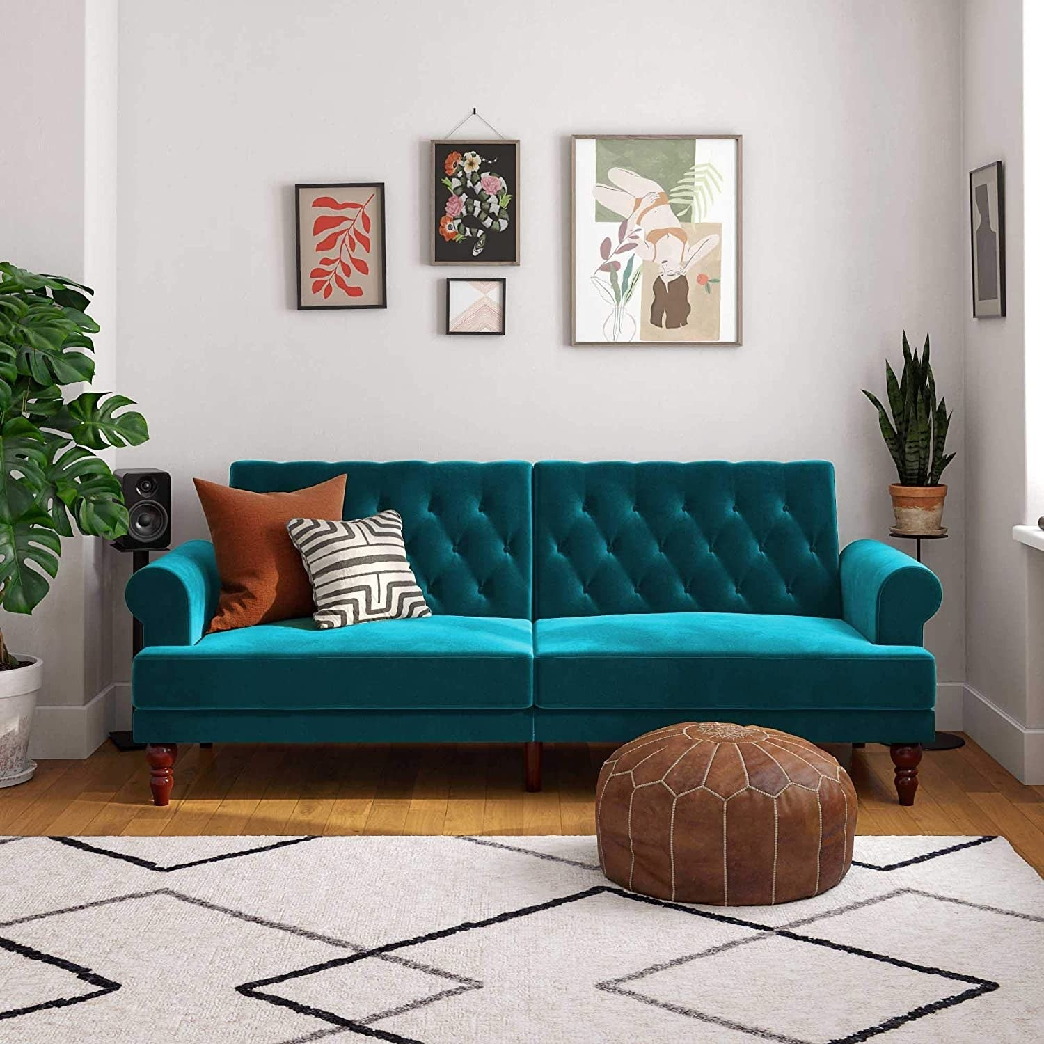 The teal velvet couch