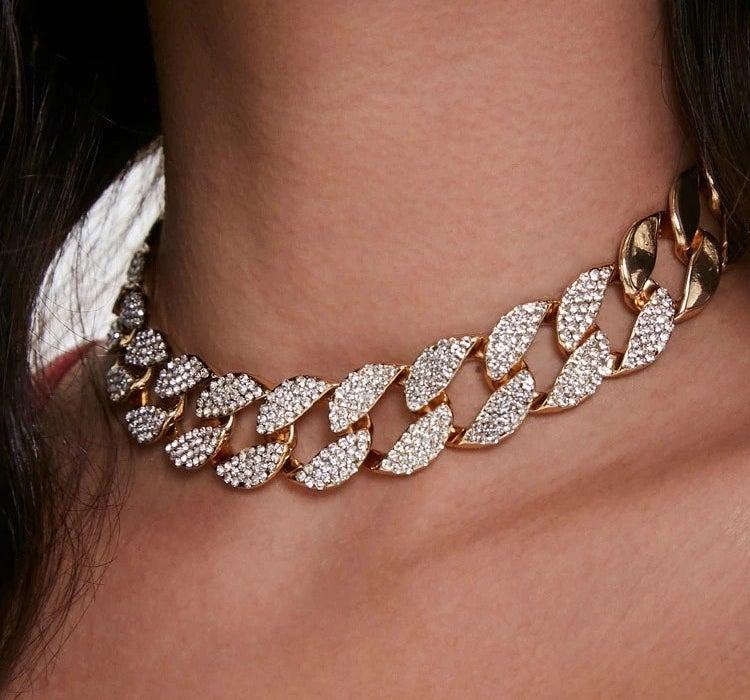 model wearing rhinestone necklace