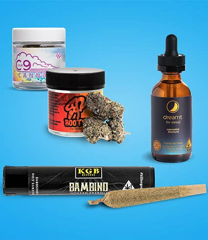 Product imagery featuring different flowers, a blunt, and a tincture