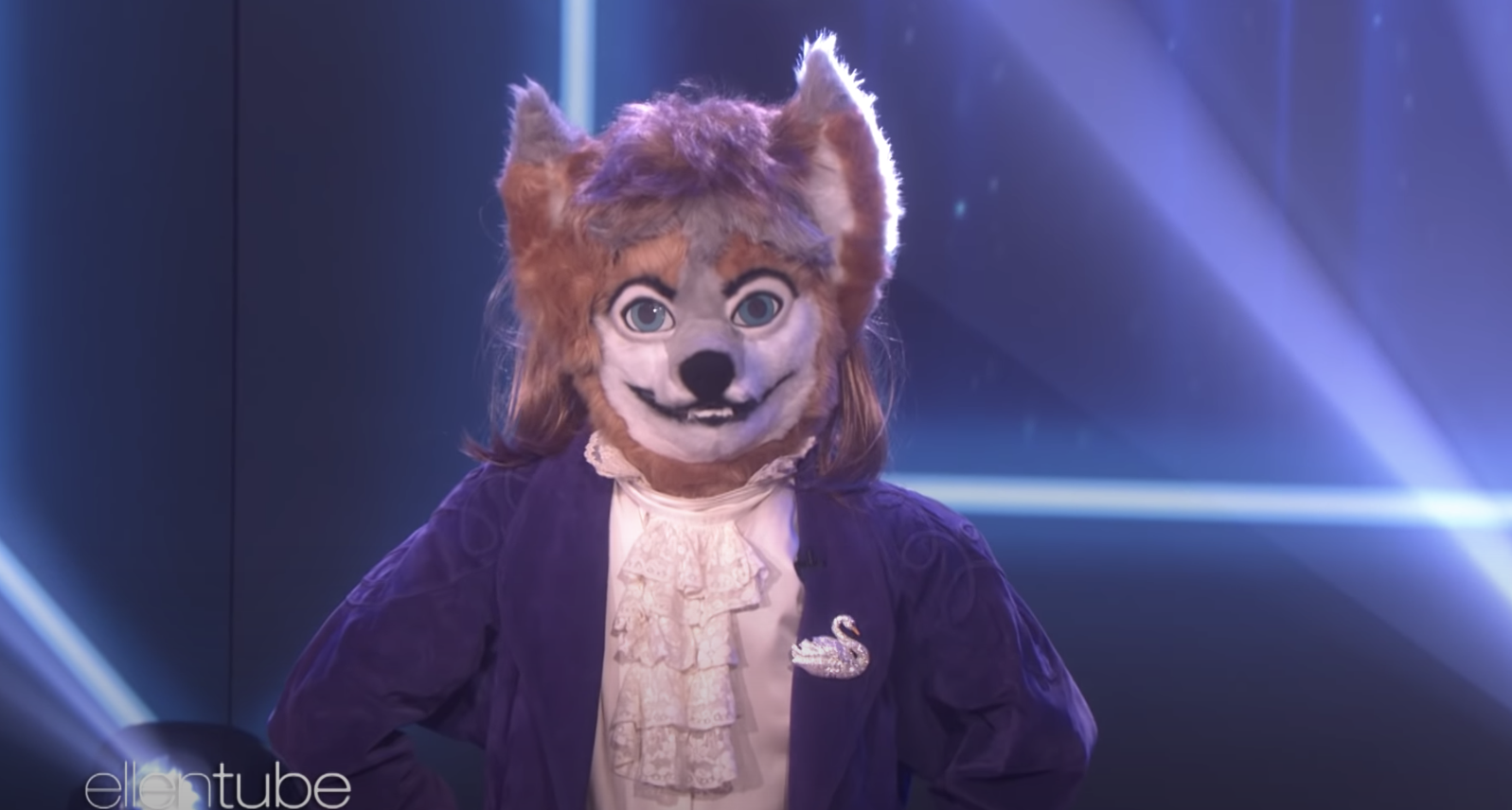 Dancer in a wolf mask on 'The Ellen Show'