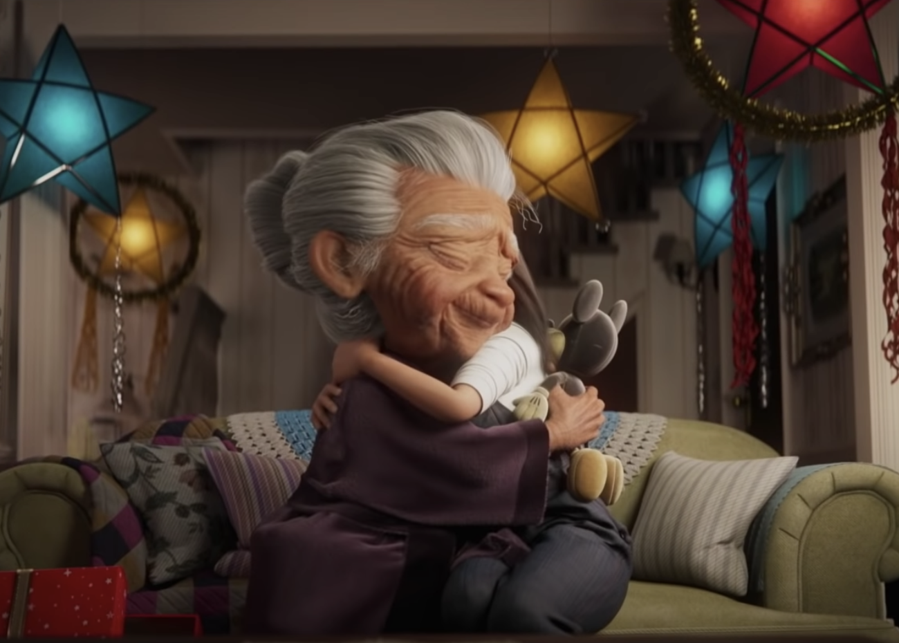 Grandma and her granddaughter hugging
