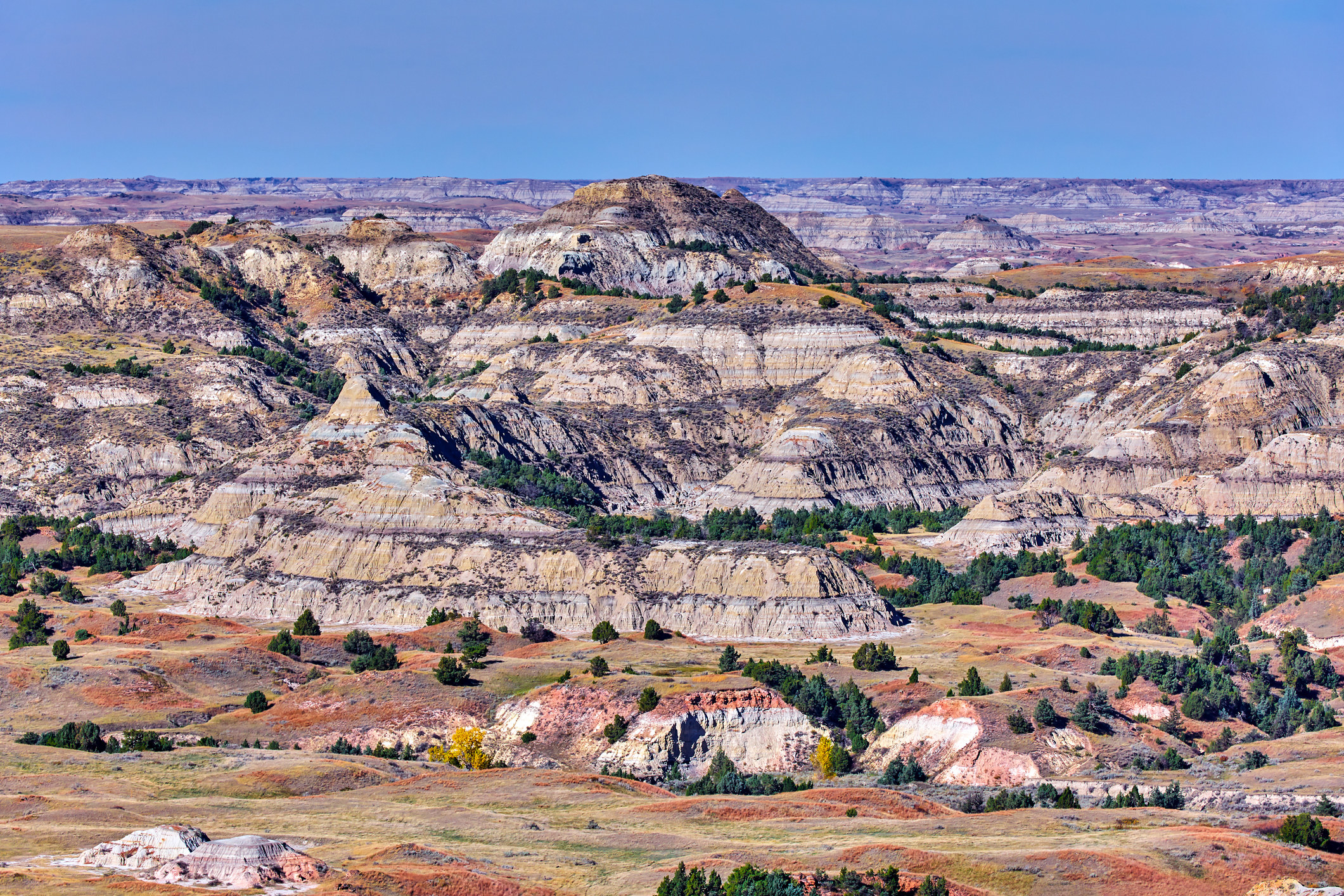 The rugged, red-tinged rocky badlands of Theodore Roosevelt National Park under a cloudless blue sky