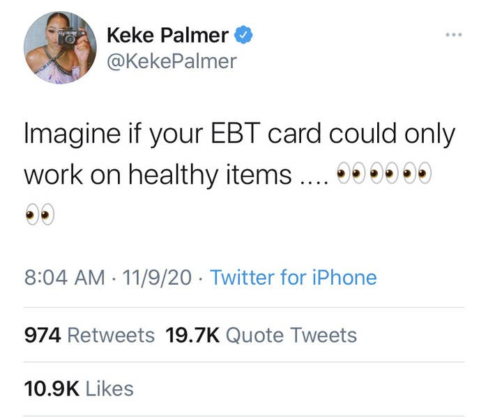 """""""Imaging if your EBT card could only work on healthy items.... [four side-eye emojis]"""