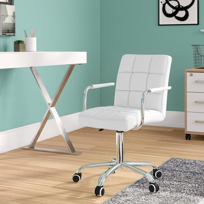 A white desk chair