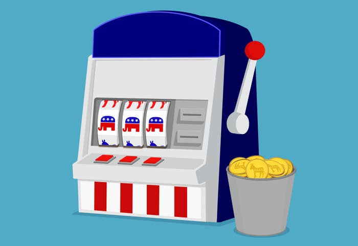 An illustration of a slot machine that is all Republican elephants