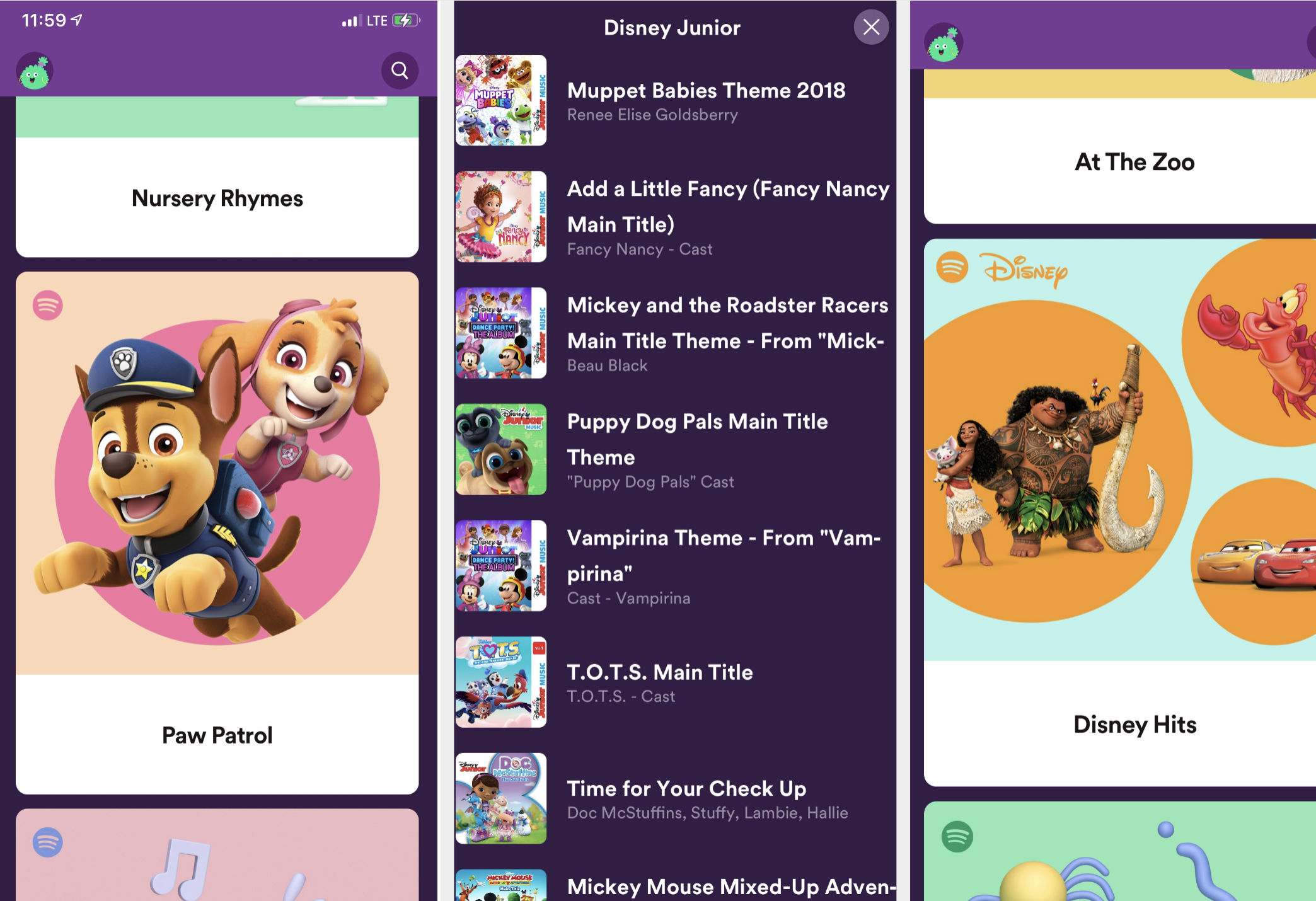 Screenshots from the Spotify Kids app