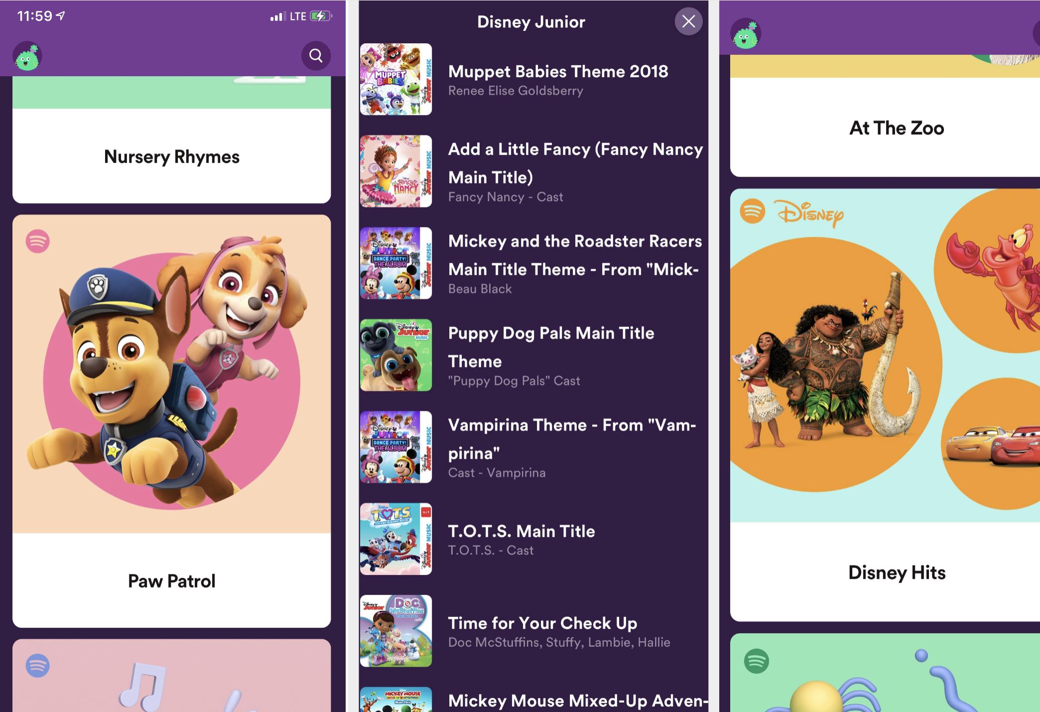 Screenshots from the Spotify Kids app