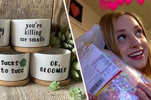 to the left: an array of witty succulent pots, to the right: a reviewer holding a bag of marshmallow cereal