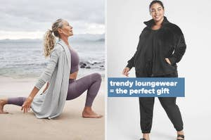 Left image: Model wears French Terry cover up while doing yoga, right image: model wears Karma Cozy joggers and zip-up