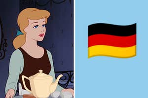 Split Image: Cinderella on the left and the german flag on the right