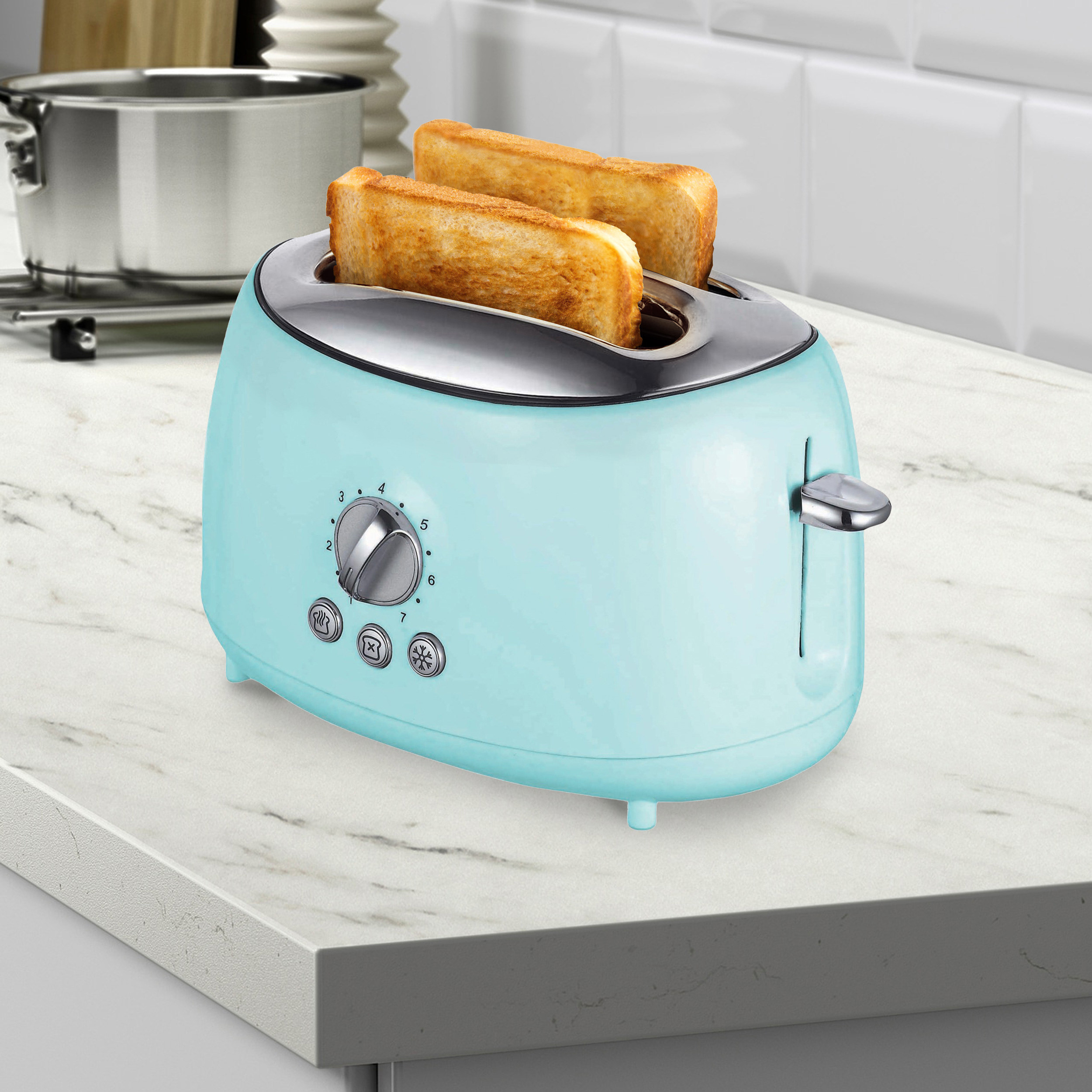 Robins egg blue two-slot toaster