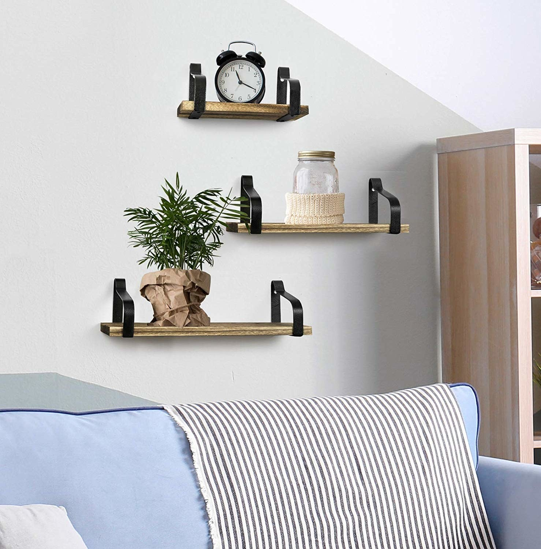 Mounted floating wooden shelves