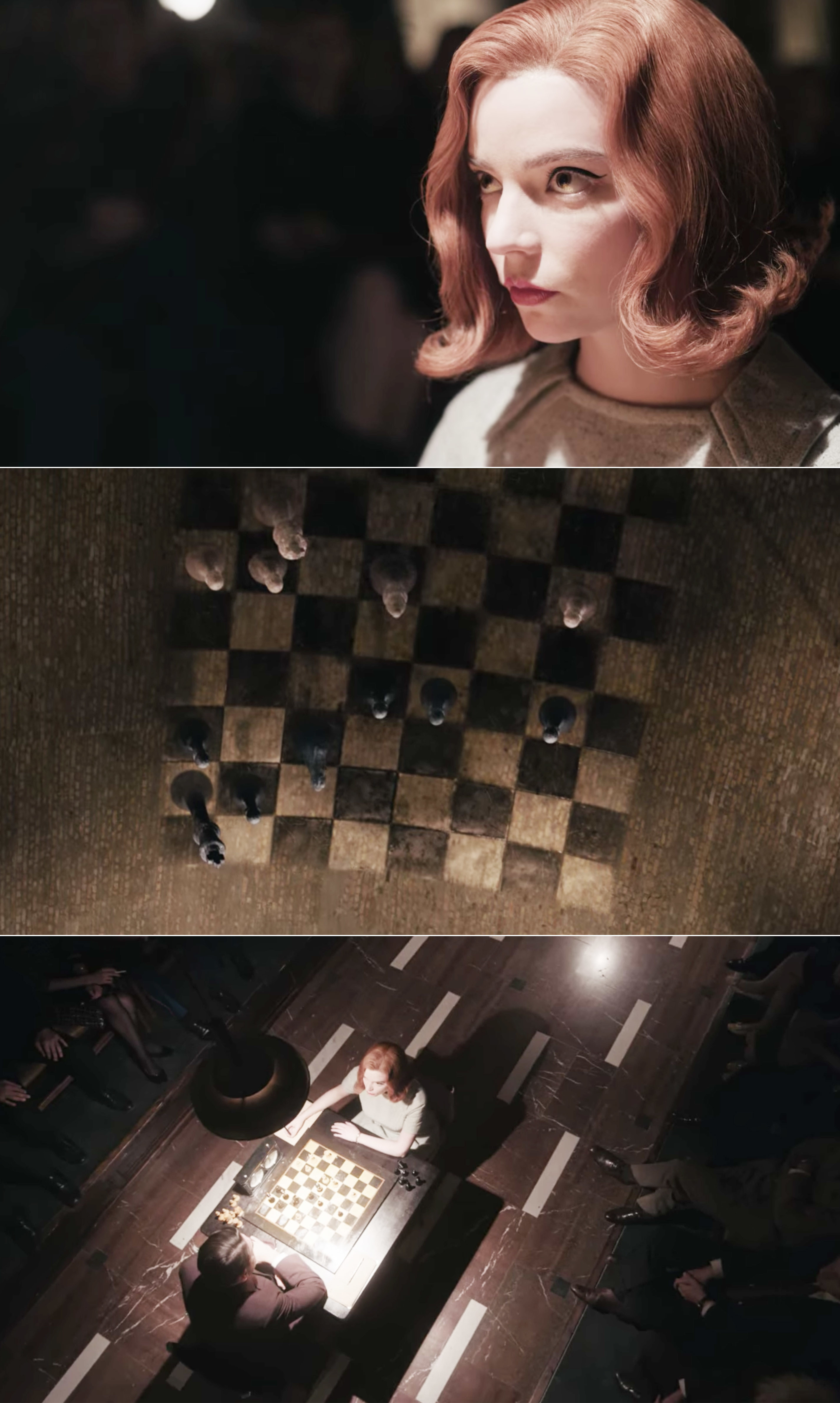 Beth looking at the chessboard while playing Borgov