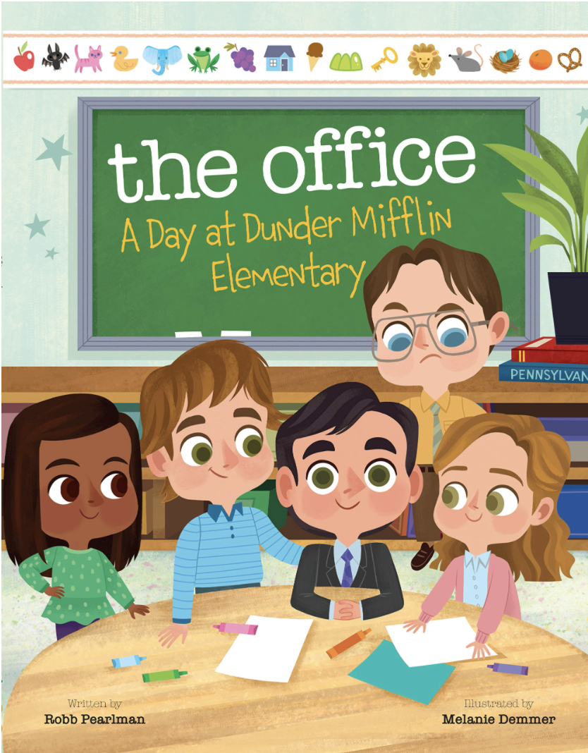A book cover where the characters from the office are rendered as kids