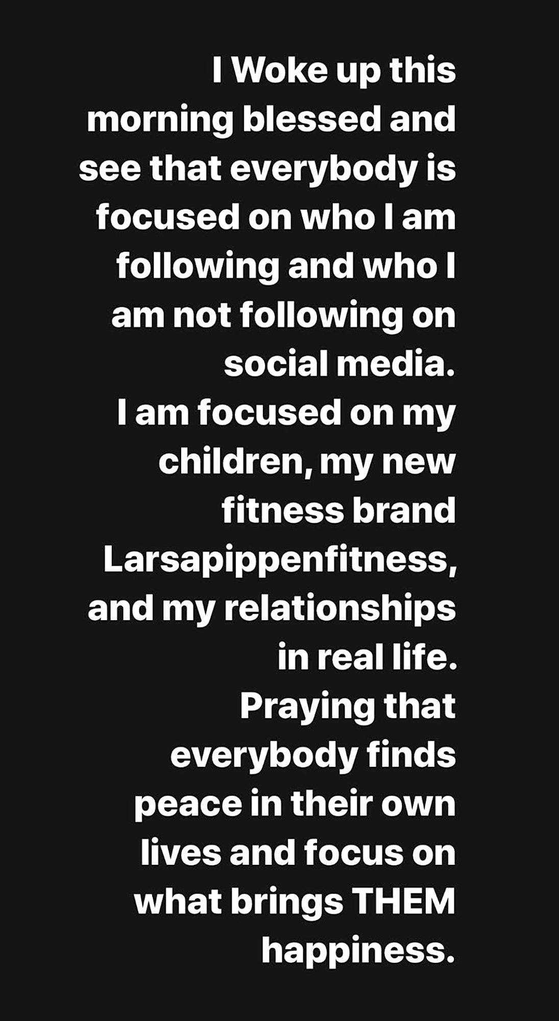 Screenshot of Larsa Pippen's Instagram statement