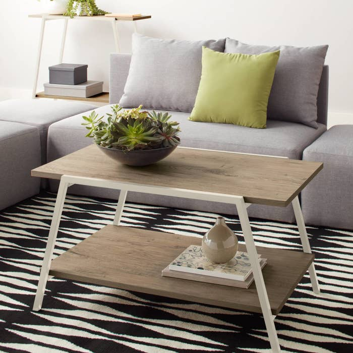 Light wood two tier coffee table