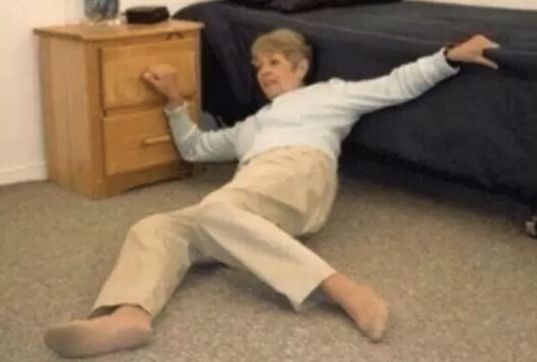 The old lady from the Life Alert commercials lying on the floor, lol