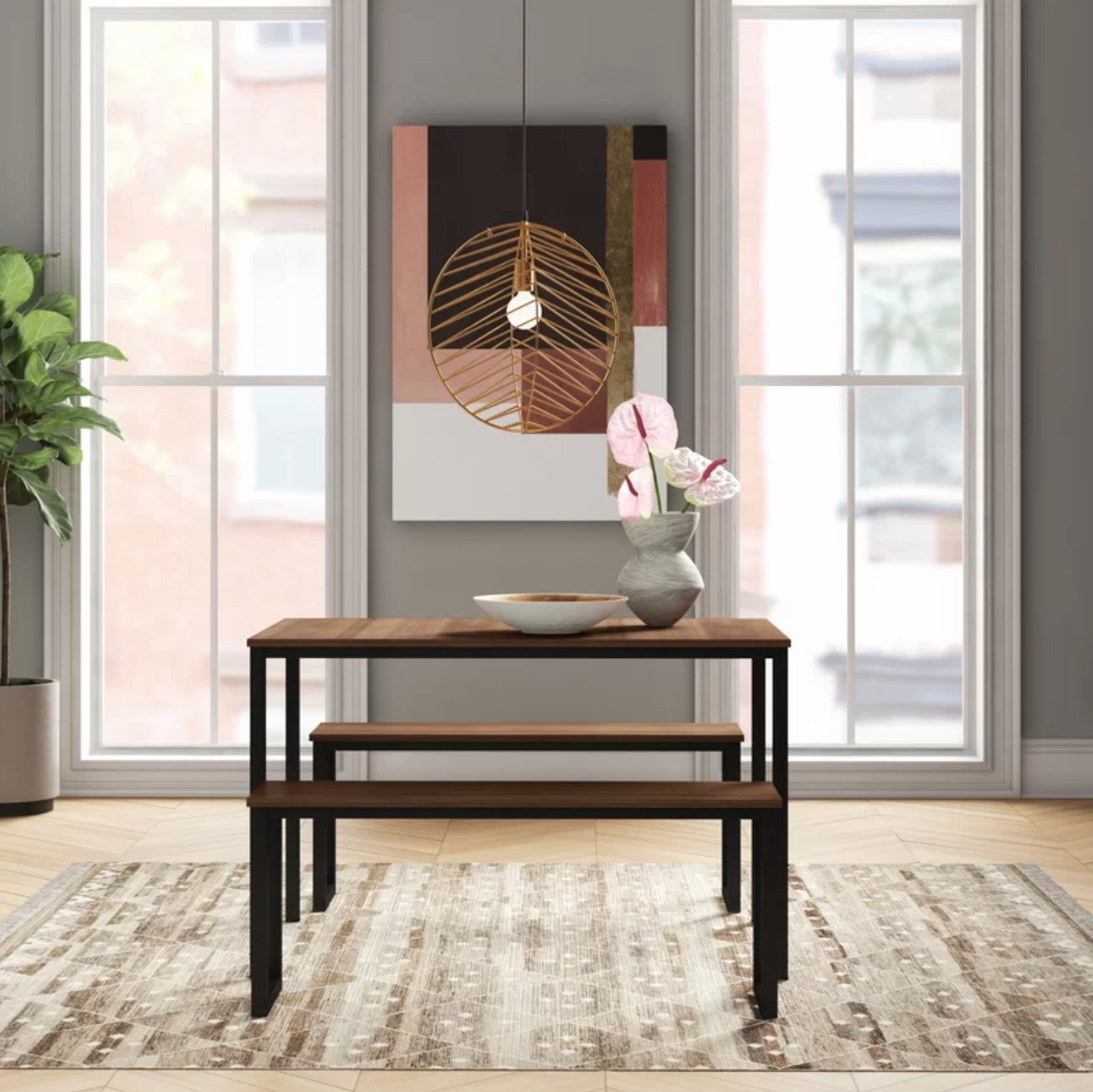The dining table set in black/rich brown