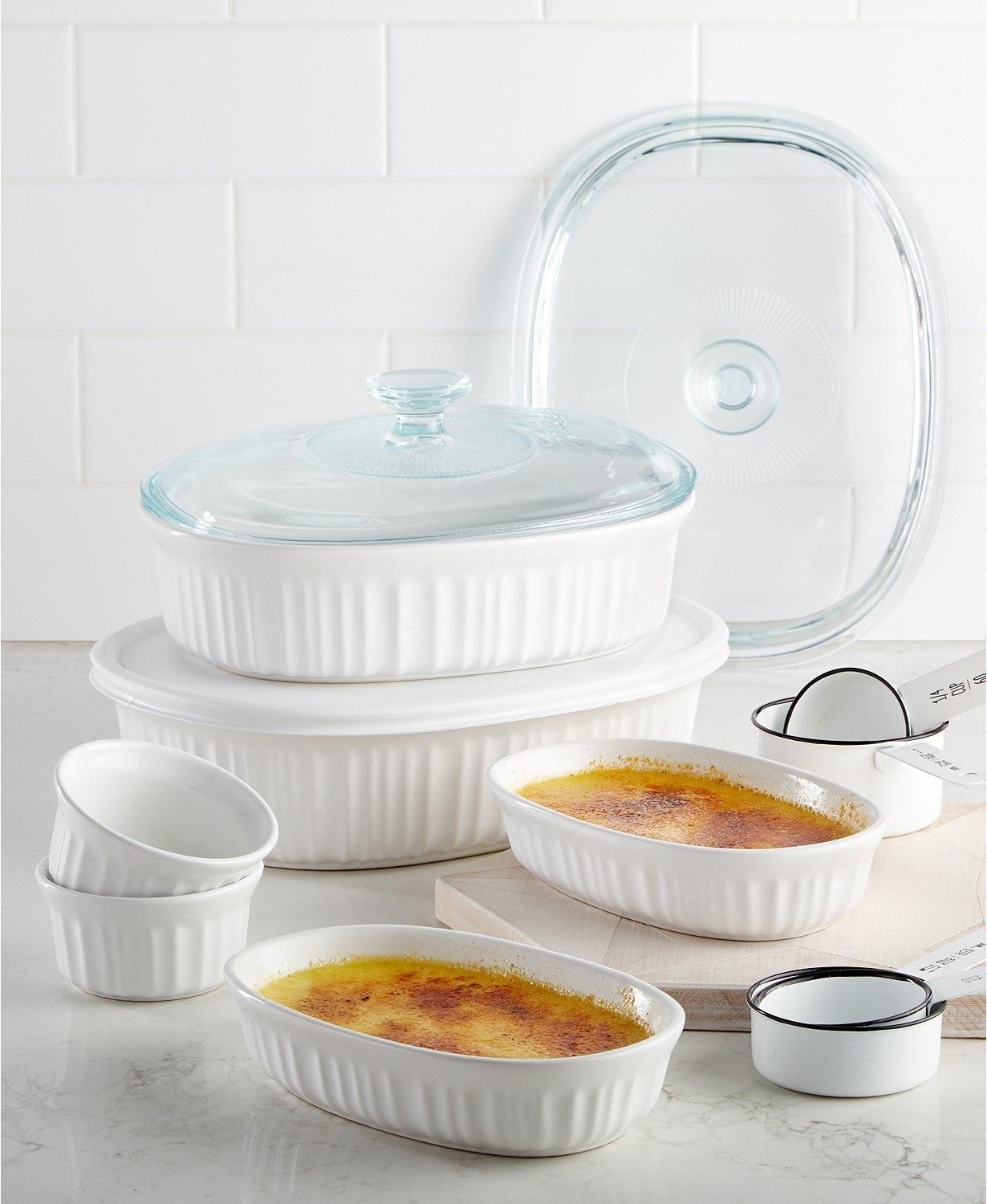 the complete corningware french white 10-piece bakeware set on display