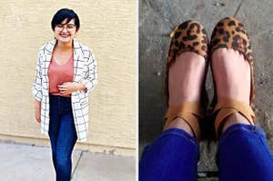 On the left, a reviewer in a white grid print blazer. On the right, a reviewer in leopard flats