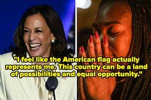 当选副总统卡马拉·哈里斯给她的胜利演说;一名年轻女子看着匹兹堡哈里斯的胜利演说