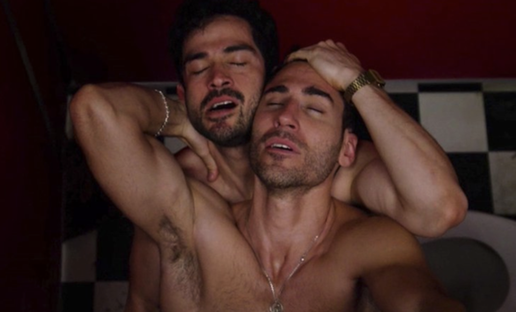 """Lito and Hernando hooking up in the bathroom in """"Sense8"""""""