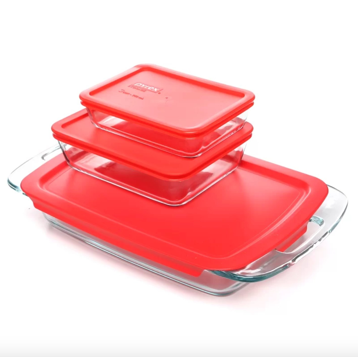 The six-piece pyrex set in red