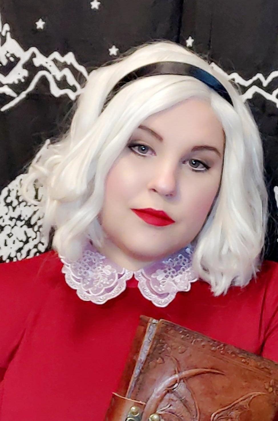 reviewer image wearing the black satin headband as part of Sabrina cosplay
