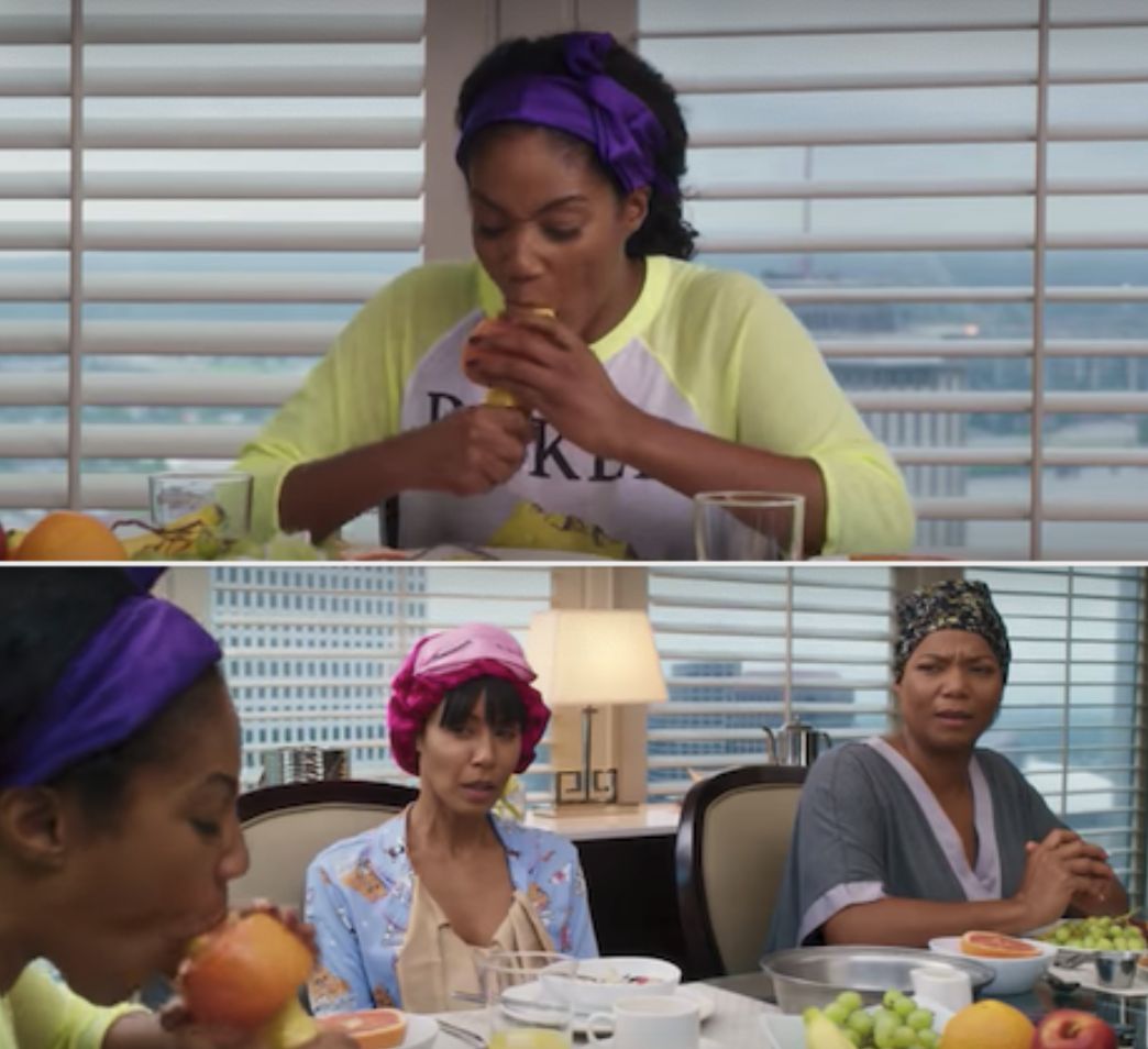 "Tiffany Haddish deep-throating a banana in ""Girls' Trip"""