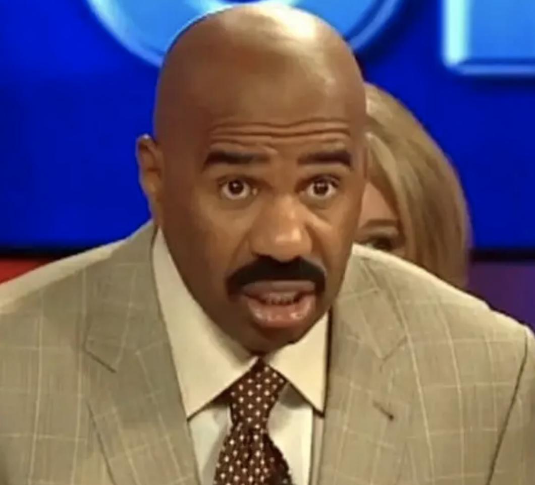 "Steve Harvey looking shocked on ""Family Feud"""