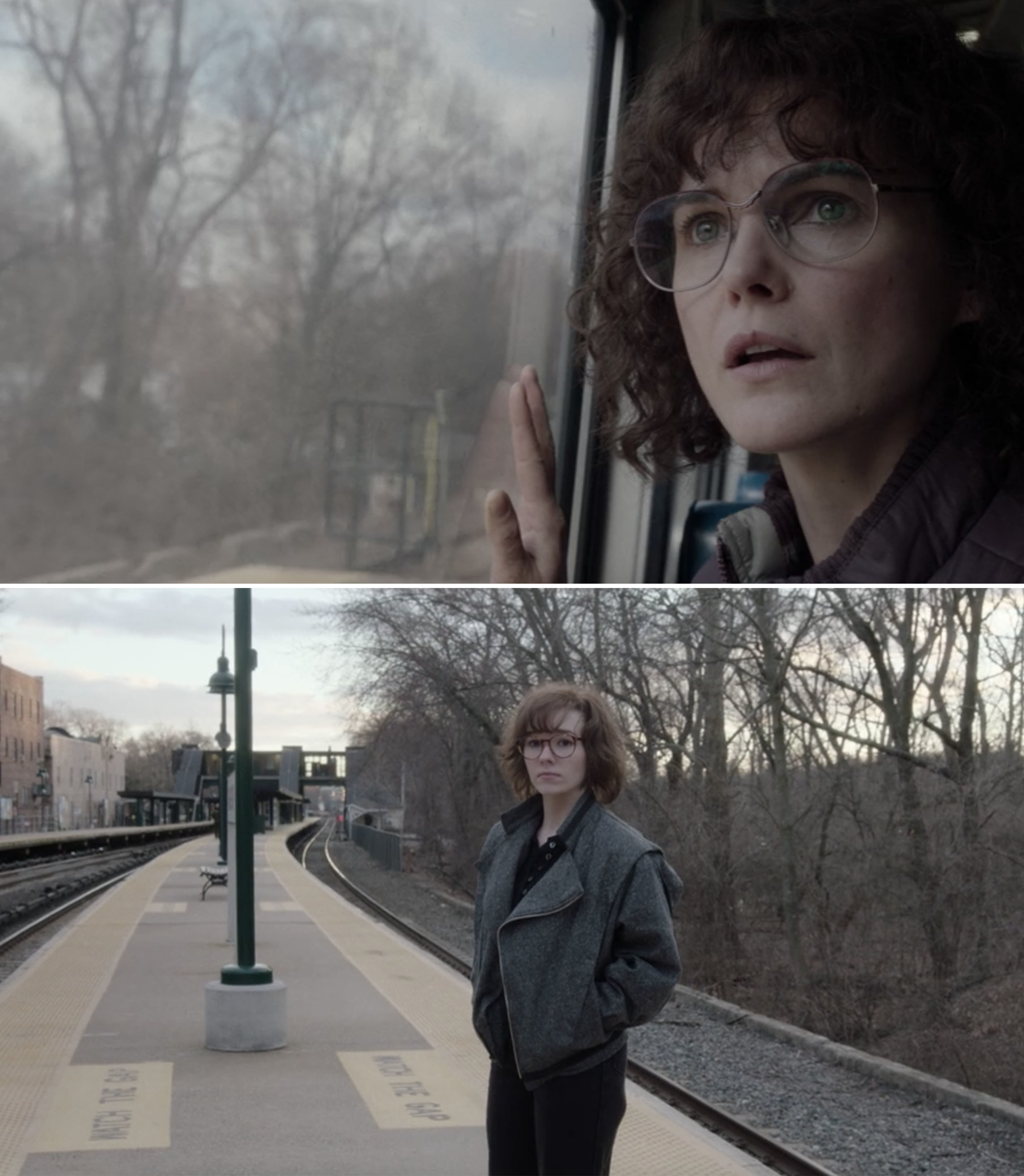 Paige standing on the train platform and Elizabeth seeing her through the window