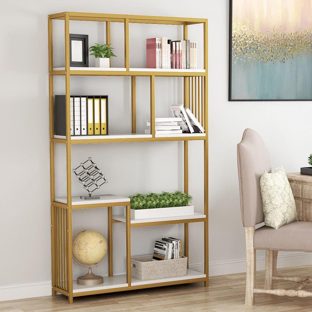 Seven-shelf metal frame bookcase