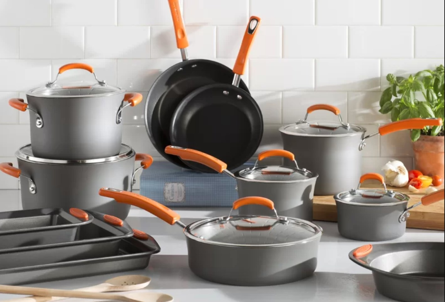 The five-piece cookware set with orange handles