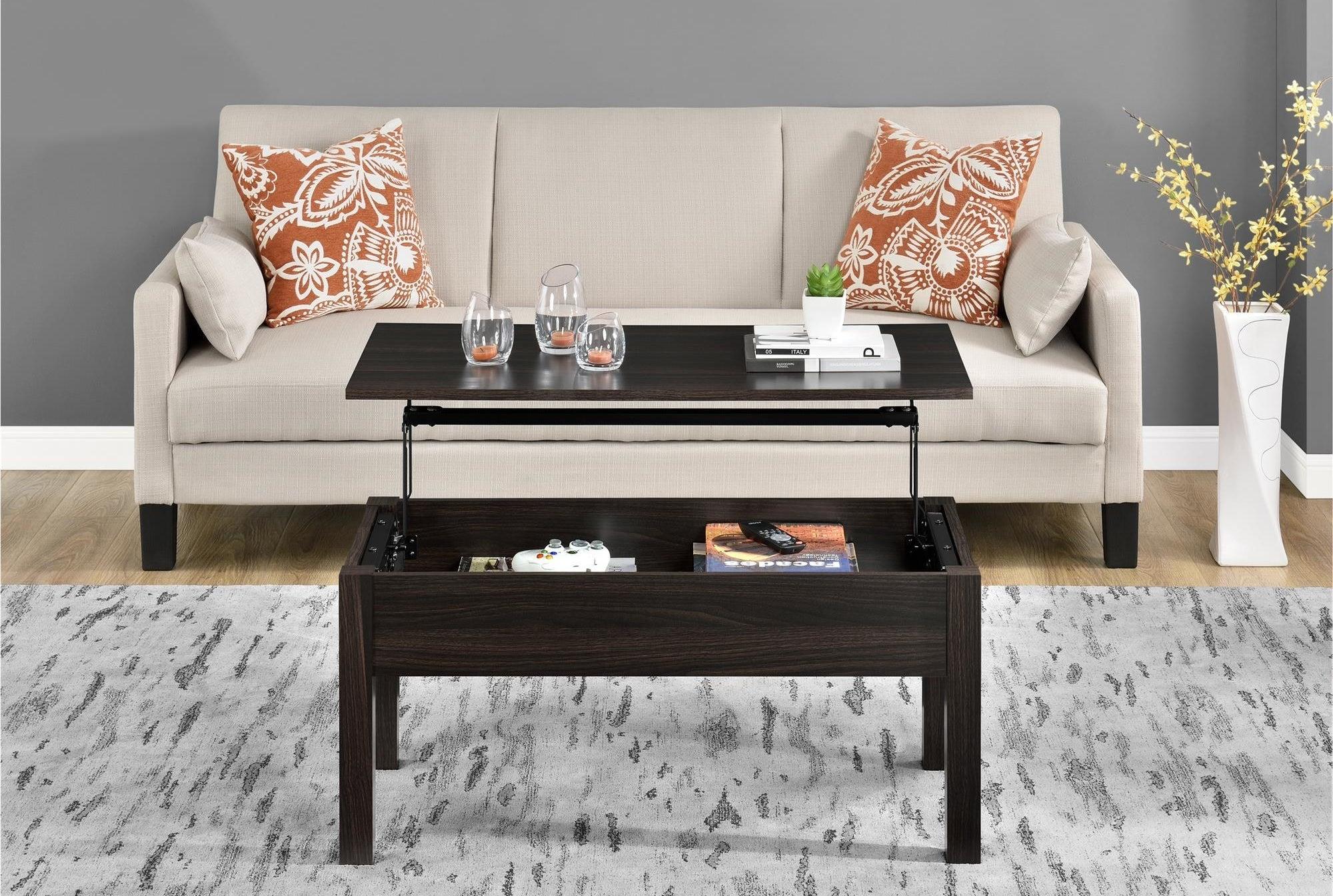 Lift-top dark wood coffee table