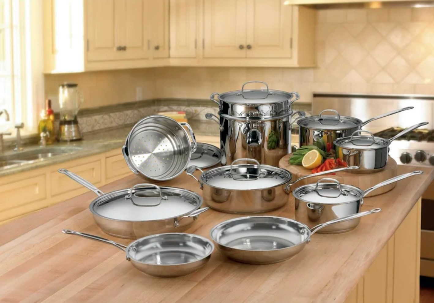 The Cuisinart cookware set in stainless steel