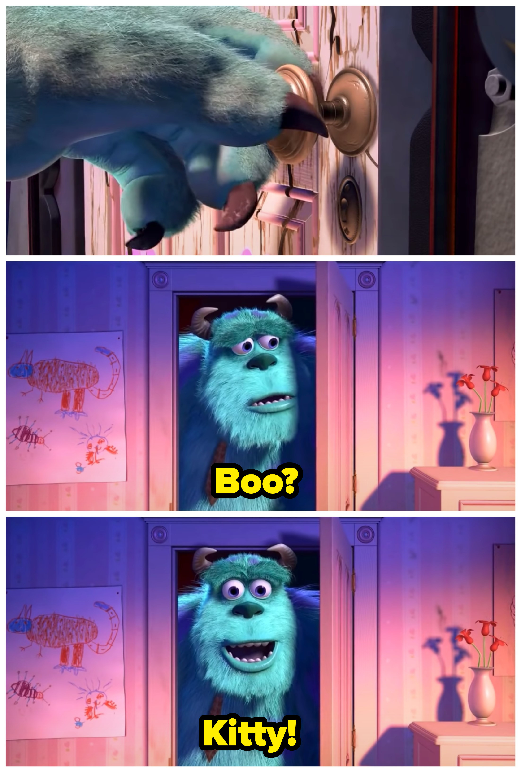 "A collage of Boo opening and peeking through a door; it is captioned ""Boo?"" ""Kitty!"""