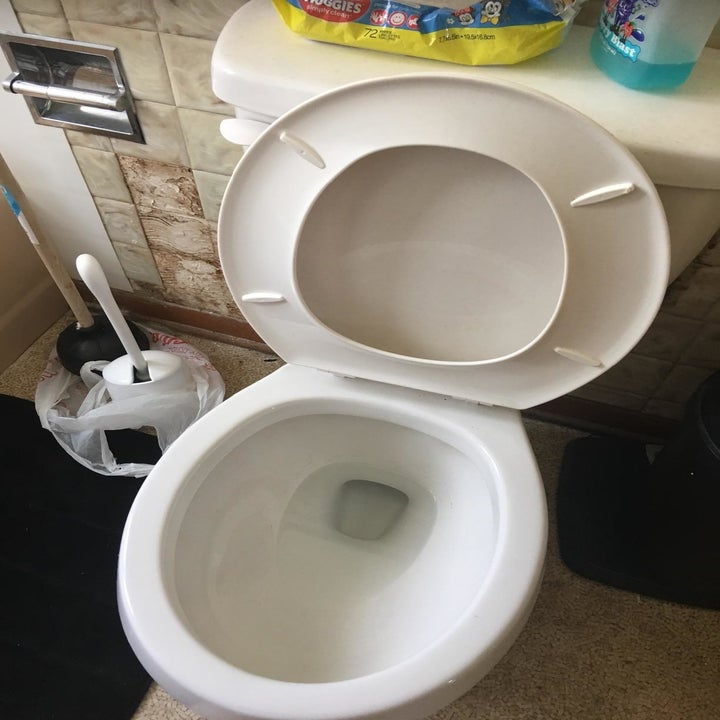 Reviewer's same toilet all clean after using a pumice stone