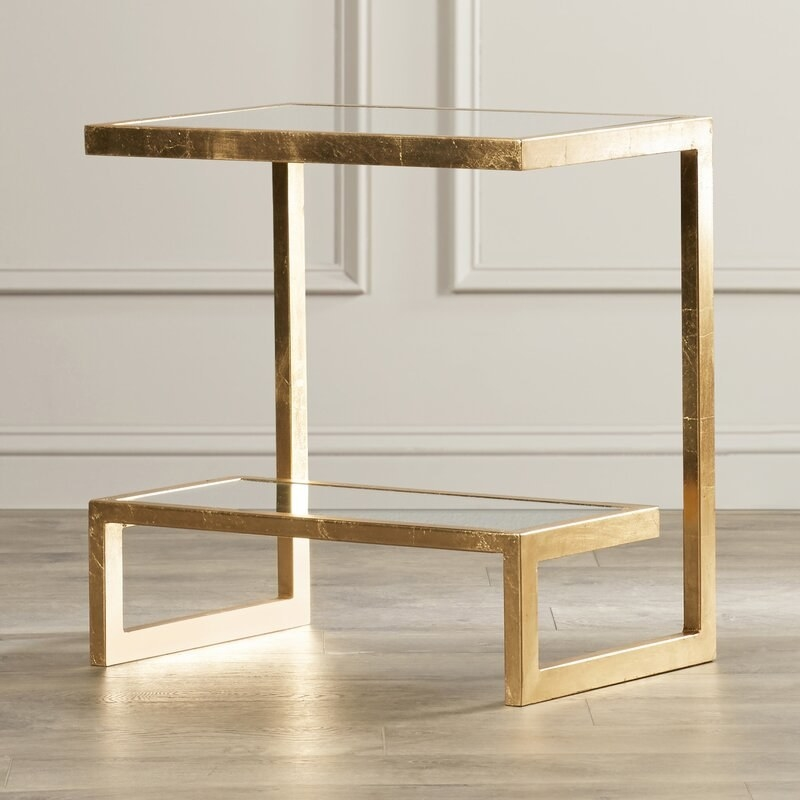 glass and gold side table
