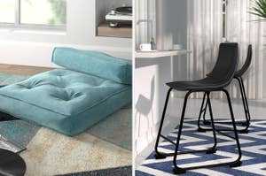 to the left: blue pillow cushions, to the right: a modern stool chair