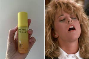 """A side-by-side of the author holding a bottle of CBD-infused serum and Meg Ryan's face from the orgasm scene in """"When Harry Met Sally"""""""
