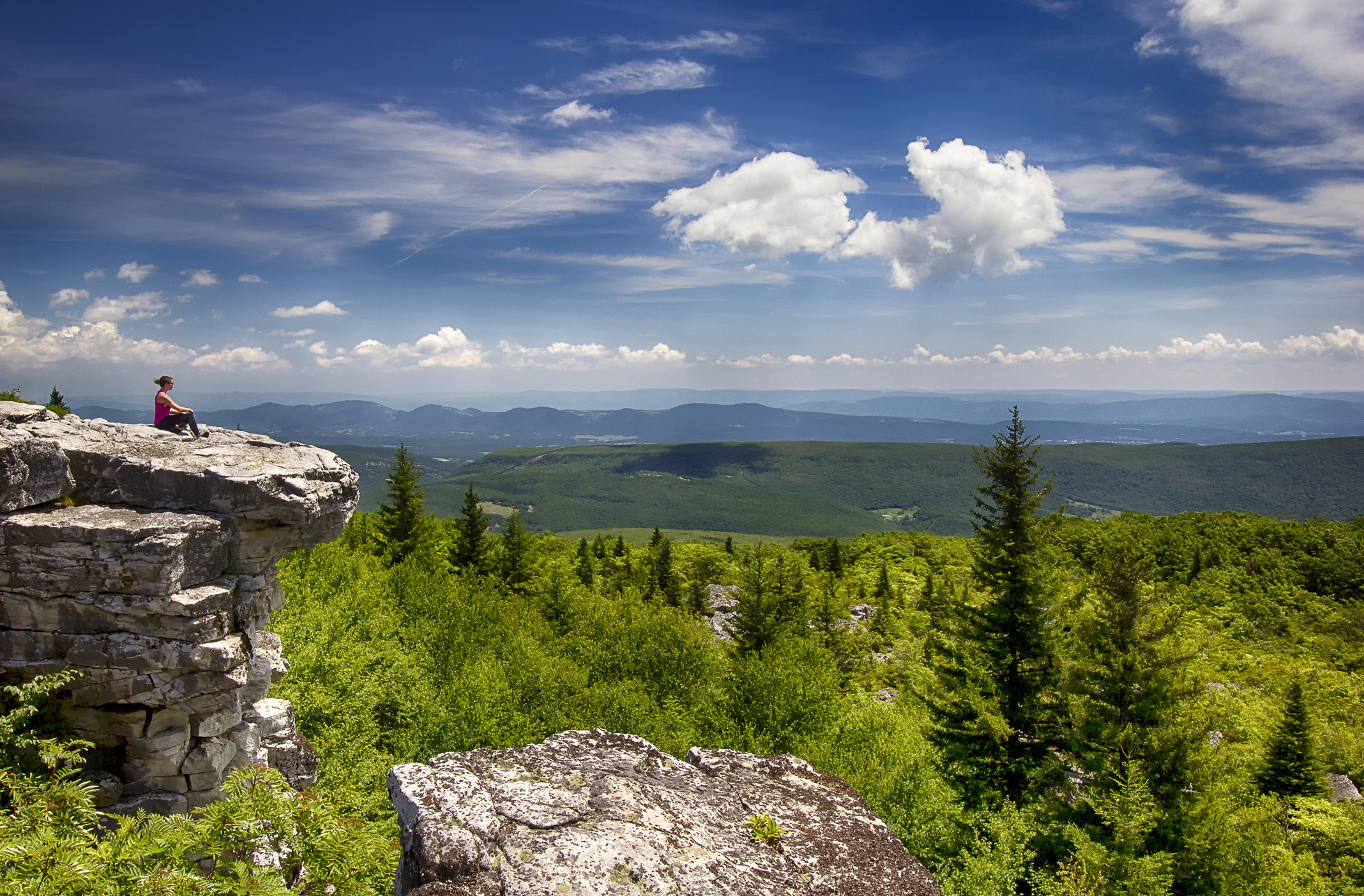 A hike sits on a cliff overlooking the green trees of Dolly Sods Wilderness under a blue and cloudy sky