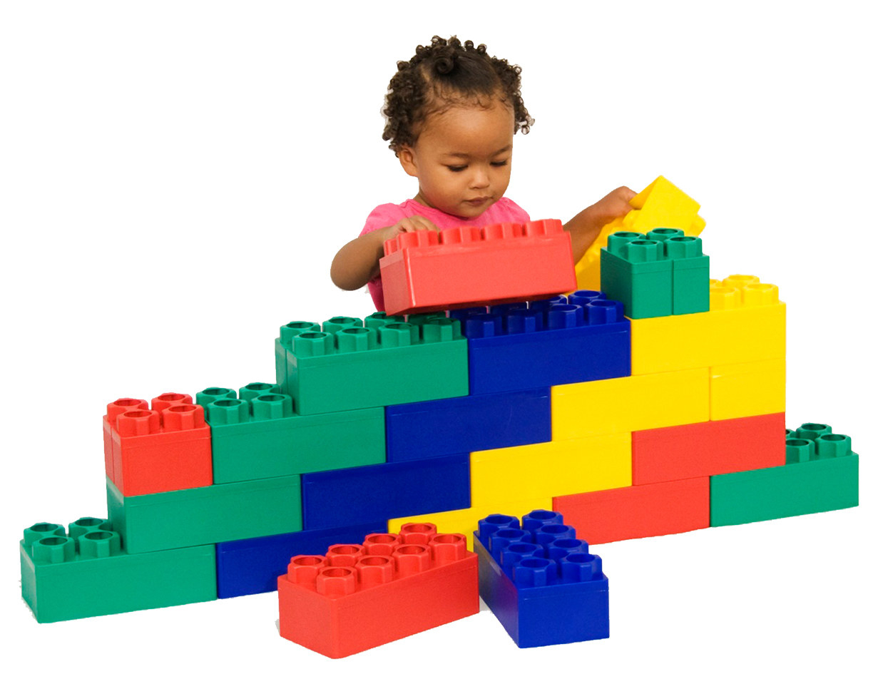 A child plays with the blocks