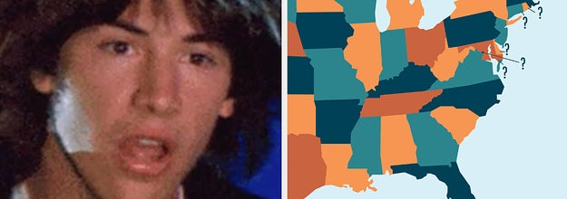 Side-by-side images of a confused Keanu Reeves and a US map