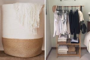 left, laundry basket, right, clothing rack