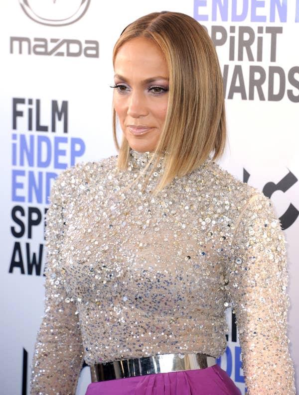 Jennifer Lopez tiba untuk Penghargaan Roh Independen Film 2020 yang diadakan pada 8 Februari 2020 di Santa Monica, California.