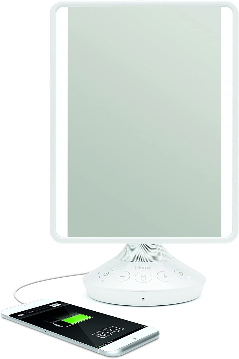 The mirror with a phone plugged in