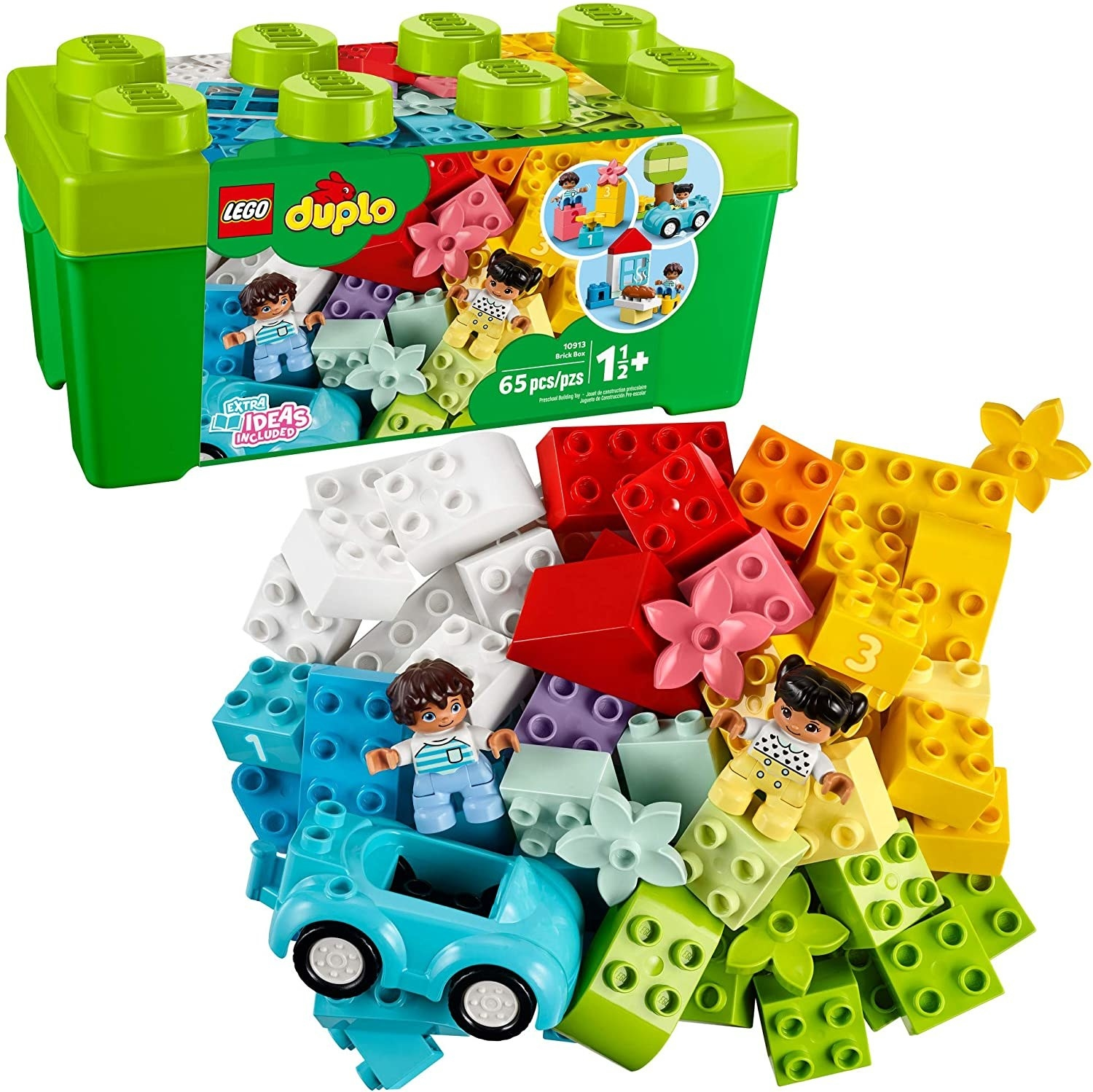 A 65-piece set of colorful LEGO DUPLO bricks.
